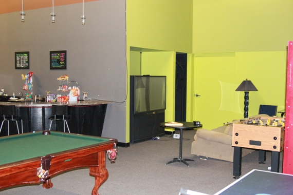 Game area with pool & Foosball tables